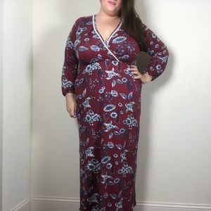 Loveappella Blue Floral Maroon Stretch Maxi Dress